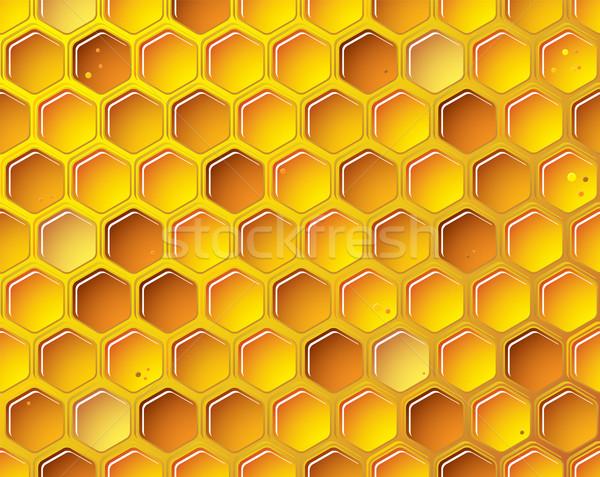 En nid d'abeille or abeille bulles fond orange Photo stock © nicemonkey