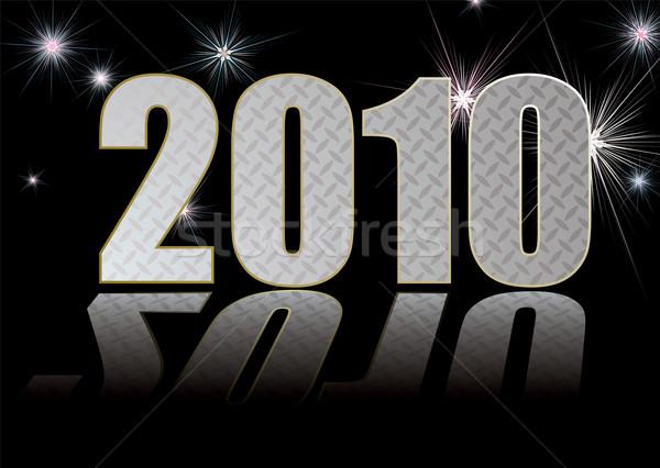 2010 grill nieuwjaar vuurwerk reflectie achtergrond Stockfoto © nicemonkey