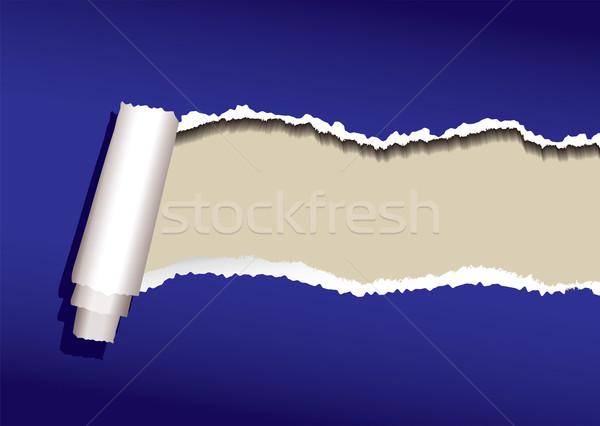 Bleu papier déchirée rouler ombre résumé Photo stock © nicemonkey