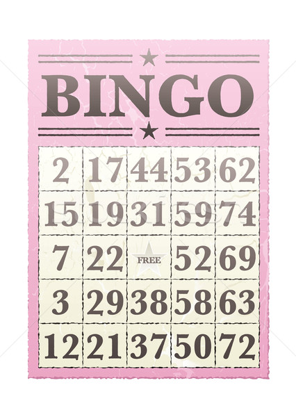 Bingo kaart roze nummers retro-stijl leuk Stockfoto © nicemonkey