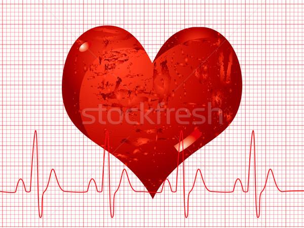 Hartslag illustratie medische tonen licht Stockfoto © nicemonkey