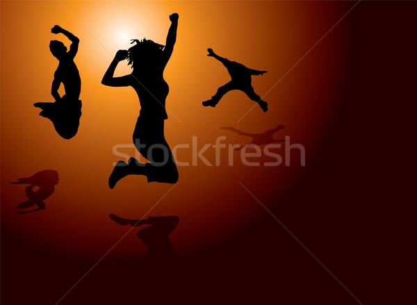 Salto gioia persone jumping caldo sole Foto d'archivio © nicemonkey