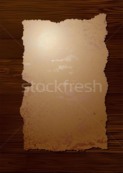 Parchemin grain de bois pièce papier attaché Photo stock © nicemonkey