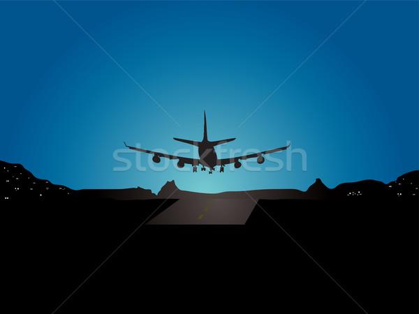 Repülőgép leszállás illusztráció hegy kilátás ház Stock fotó © nicemonkey