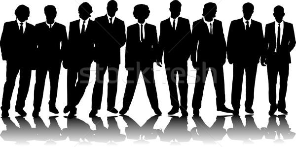 Kantoor mensen groep negen zakenlieden zwarte silhouet Stockfoto © nicemonkey