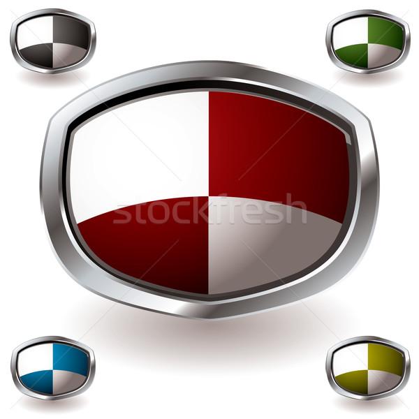 современных щит геральдика квадратный шаблон серебро Сток-фото © nicemonkey