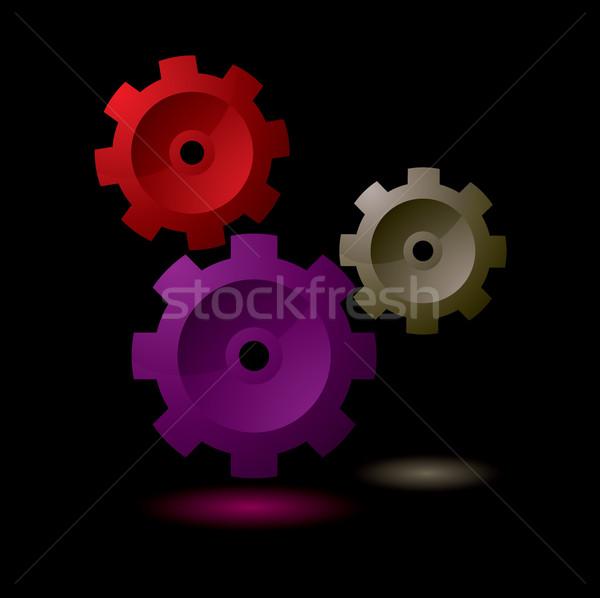 Gang cog Symbol einfache Sammlung schwarz Stock foto © nicemonkey