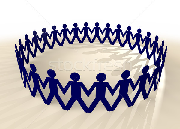 paper chain men blue Stock photo © nicemonkey