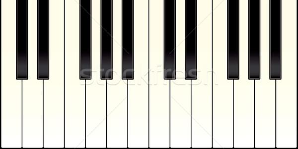 Fortepian klawiatury czarno białe klucze ilustrowany Zdjęcia stock © nicemonkey