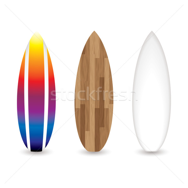 レトロな サーフボード コレクション 3  木製 虹 ストックフォト © nicemonkey