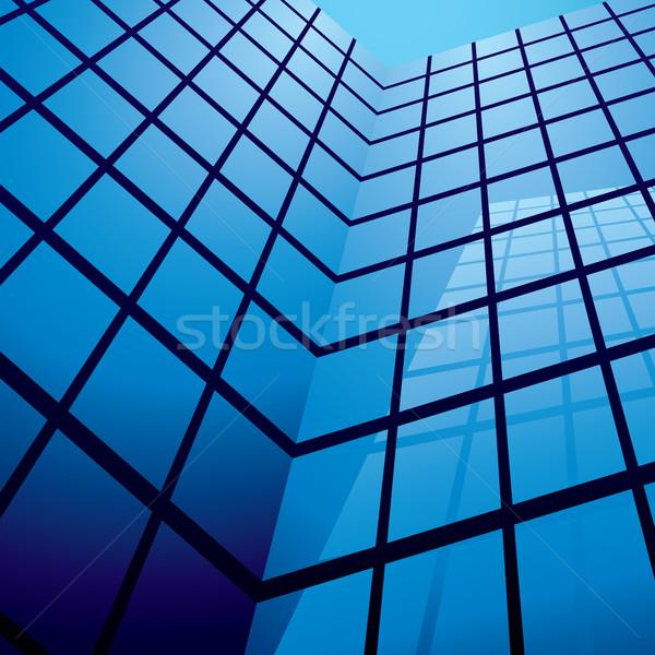 Prédio comercial reflexão vidro windows blue sky céu Foto stock © nicemonkey