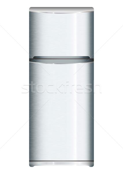ストックフォト: 現代 · 冷蔵庫 · 銀 · 金属 · クール · ドア