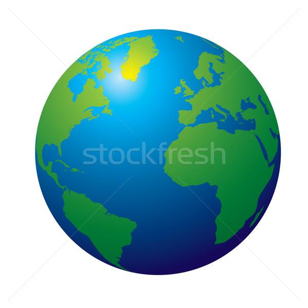 Monde 3D vue terre couleurs vert Photo stock © nicemonkey