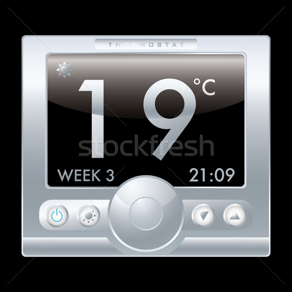 Termostato ilustración moderna plata metal negro Foto stock © nicemonkey