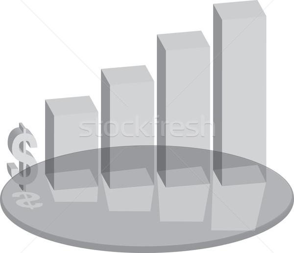 Vendite vetro business grafico simbolo del dollaro soldi Foto d'archivio © nicemonkey
