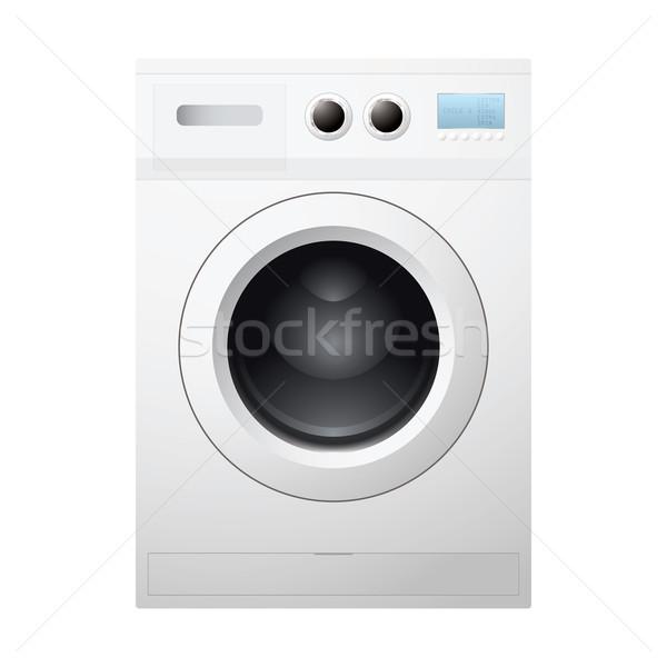 Mosógép illusztrált fehér üres dob tiszta Stock fotó © nicemonkey