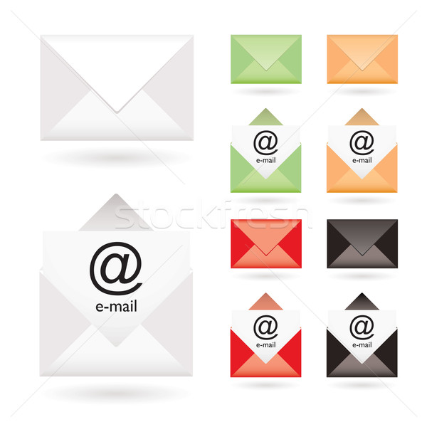 Stock fotó: Email · ikon · gyűjtemény · nyitva · boríték · szín