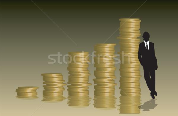 Foto stock: Moedas · gráfico · empresário · negócio