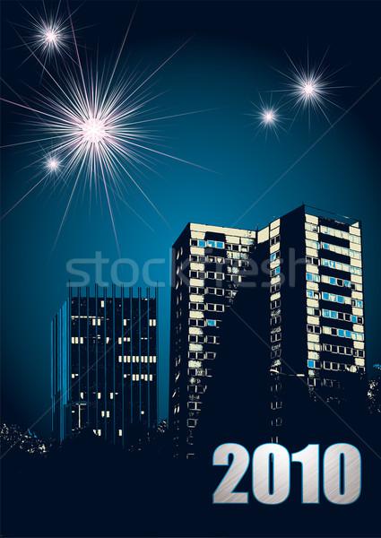 Новый год 2010 фейерверк городского Skyline ярко Сток-фото © nicemonkey