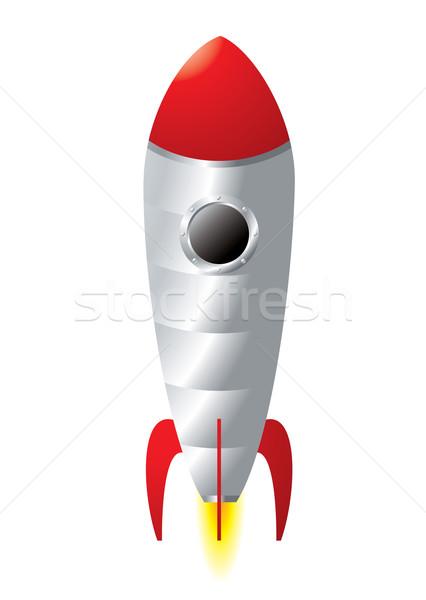 Stock fotó: Rakéta · rajz · ezüst · fém · stílus · lángok