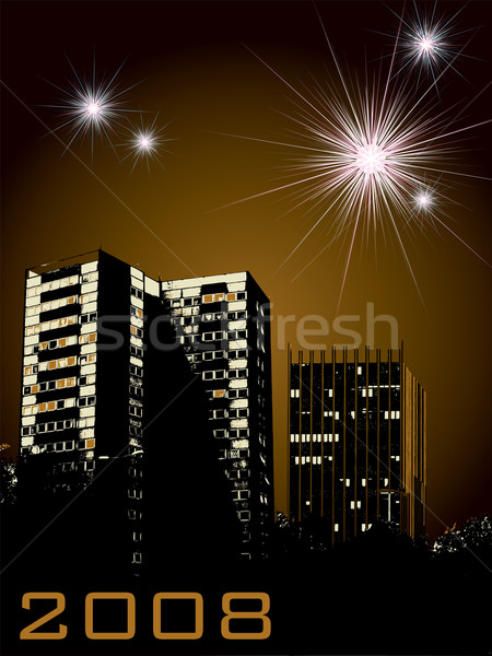 new year city fireworks Stock photo © nicemonkey