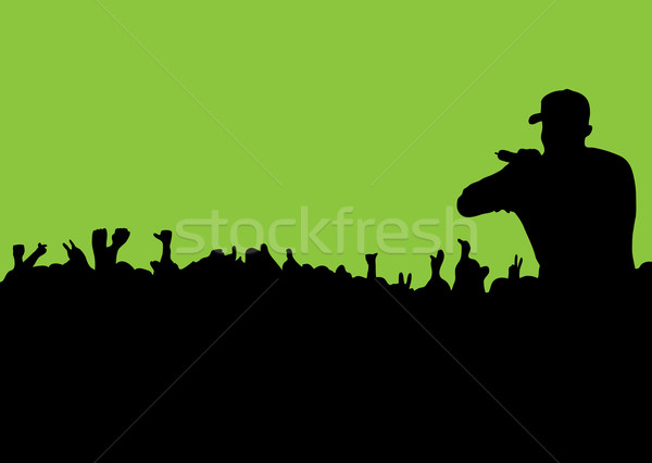 Silhouette concert foule Rock rap personnes Photo stock © nicemonkey