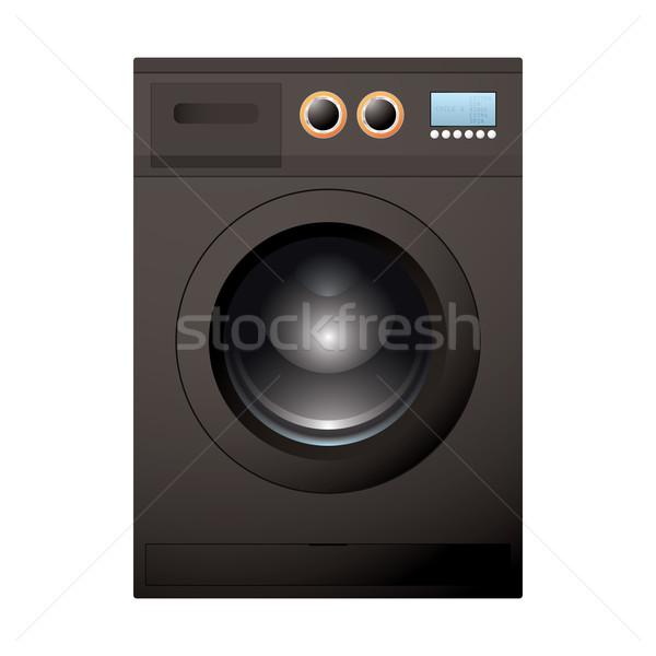 Siyah çamaşır makinesi modern parlak lcd ekran Stok fotoğraf © nicemonkey