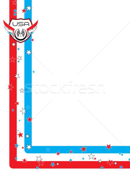 70-х годов стиль цветы красный белый синий Сток-фото © nicemonkey
