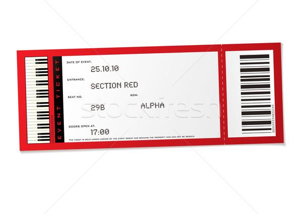 Koncert esemény jegy piros szett szám Stock fotó © nicemonkey