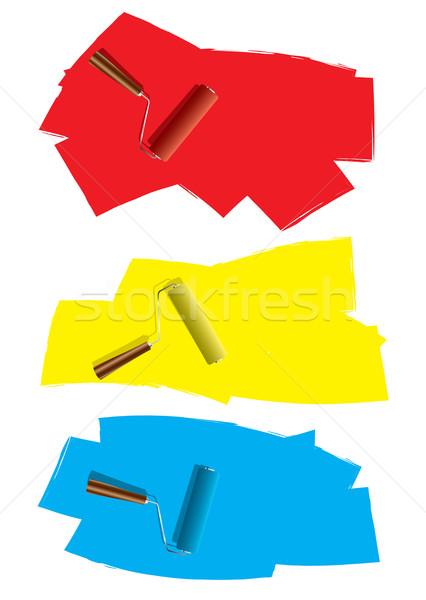Festék három dekoráció ikonok piros szín Stock fotó © nicemonkey