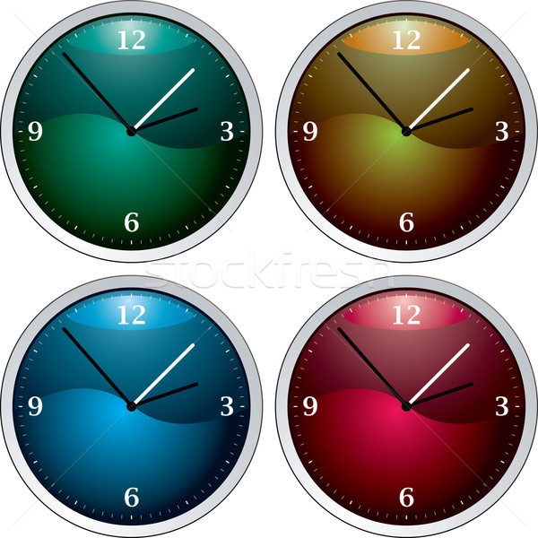 Horloge variation vecteur quatre coloré temps Photo stock © nicemonkey