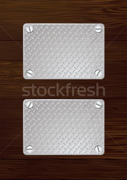 dark wood metal plate Stock photo © nicemonkey