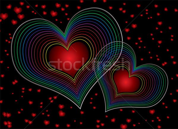 Zeventig liefde duel hart ontwerp Stockfoto © nicemonkey