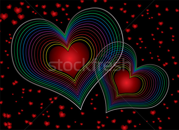 Années soixante-dix amour duel coeur design Photo stock © nicemonkey