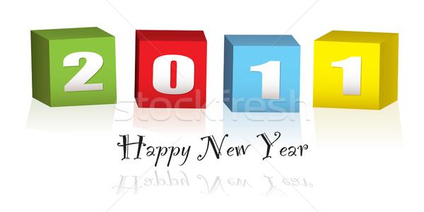 Zdjęcia stock: Nowy · rok · drewna · bloków · 2011 · kolorowy