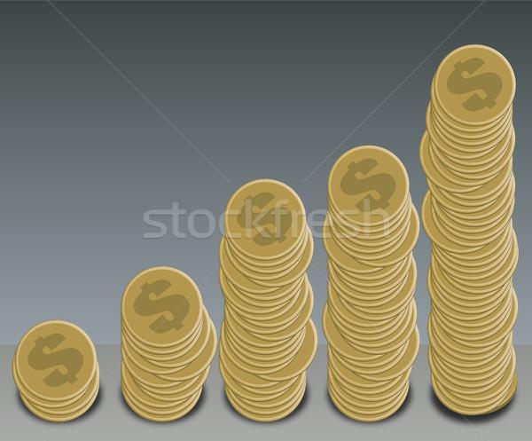 Stok fotoğraf: Madeni · para · grafik · dolar · altın · biçim · iş