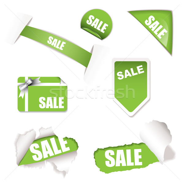 Photo stock: Magasin · vente · vert · tag · papier · déchiré