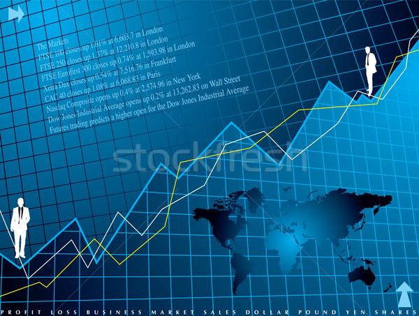 Finansowych streszczenie niebieski wykres biuro Zdjęcia stock © nicemonkey