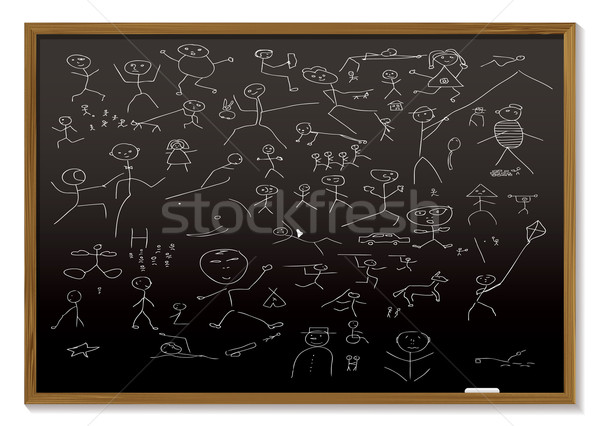 stick man blackboard Stock photo © nicemonkey