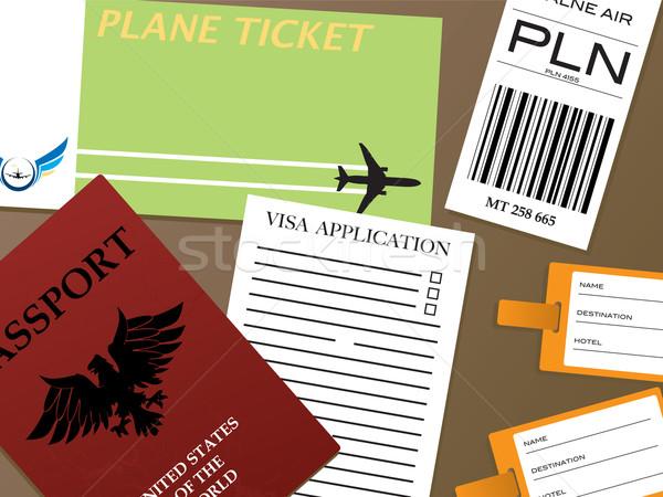 Visum illustratie alle documenten behoefte vliegen Stockfoto © nicemonkey