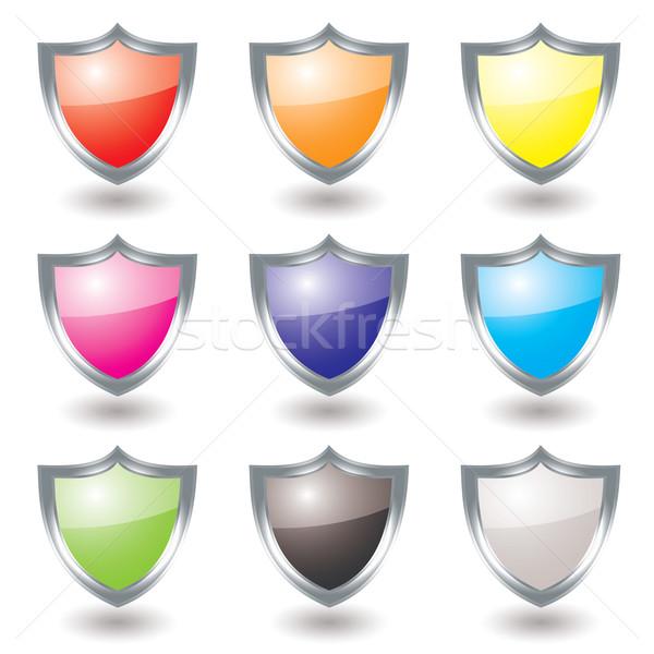 Ezüst pajzs variáció gyűjtemény kilenc szín Stock fotó © nicemonkey