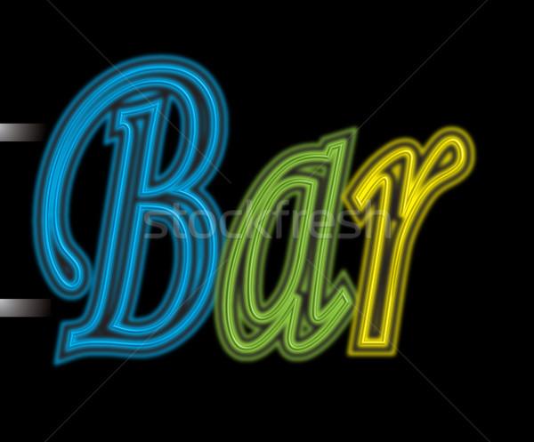 Enseigne au néon bar illustration utilisé à l'extérieur ville Photo stock © nicemonkey