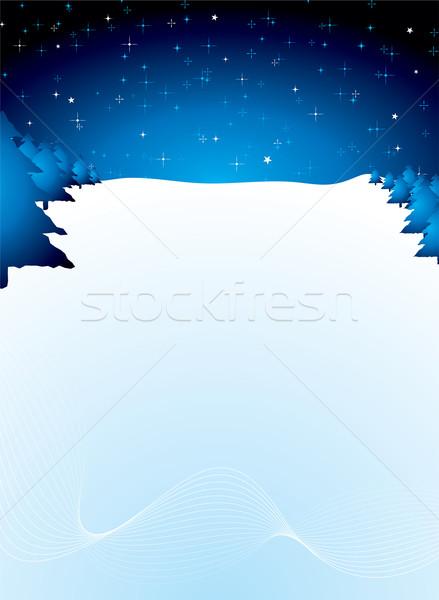 Stock fotó: Csillagos · hópehely · karácsony · jelenet · kék · copy · space