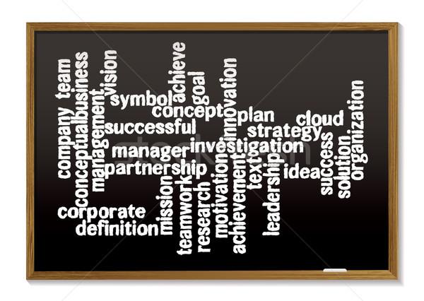 Kréta tábla szó címke felhő üzlet Stock fotó © nicemonkey