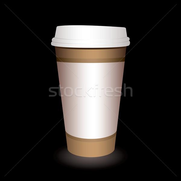 Stock fotó: Kávéscsésze · papír · fekete · árnyék · kávé · terv