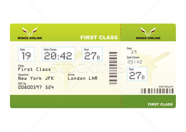Repülőgép jegy első osztály zöld utazás kapu Stock fotó © nicemonkey