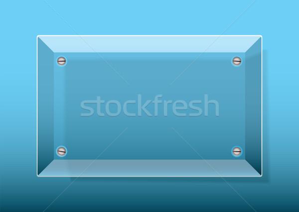 üveg fogkő kék üzlet név tányér Stock fotó © nicemonkey