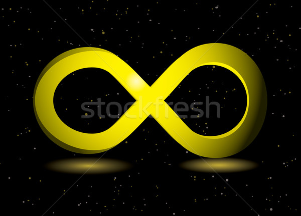 Gouden oneindigheidssymbool zwarte stof beweging Stockfoto © nicemonkey
