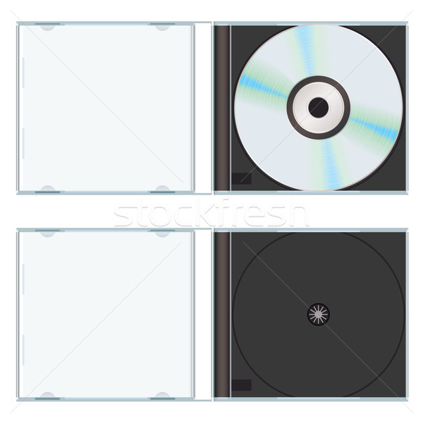 Foto stock: Música · cd · caso · vazio · computador · plástico