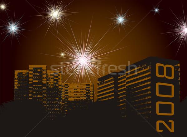 Nowy rok fajerwerków miejskich Widok zestaw rozwoju Zdjęcia stock © nicemonkey